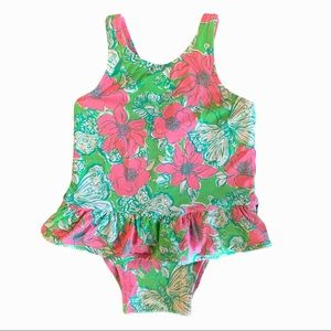 Lilly Pulitzer floral butterfly one piece swim.